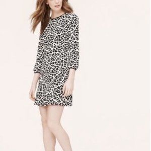 LOFT 3/4 Sleeve Animal Print Black and white Dress